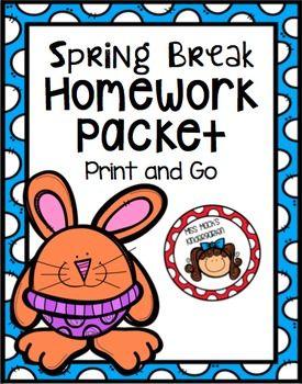 Spring Break Homework Packet {Kindergarten} | Spring Resources + ...