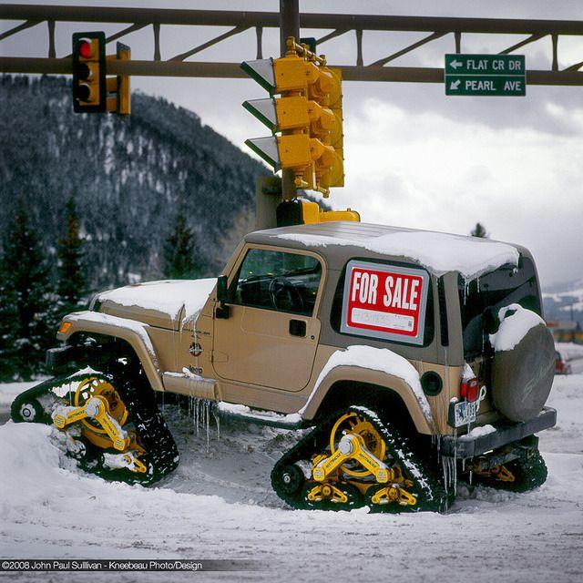 "karfavour: "" Tracked Jeep Snow Machine in Jackson Hole by John P Sullivan on Flickr. """