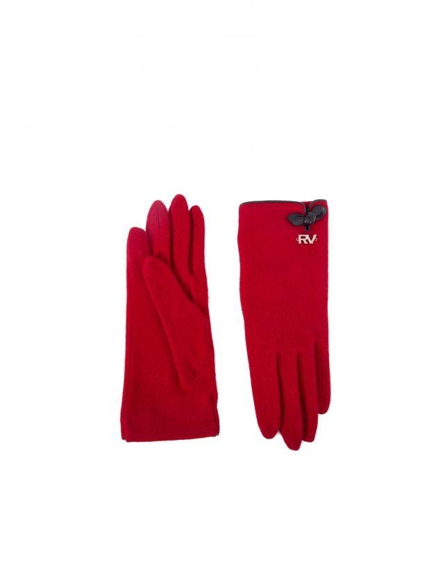 Guante de mujer, en punto rojo y aplicaciones de piel en negro