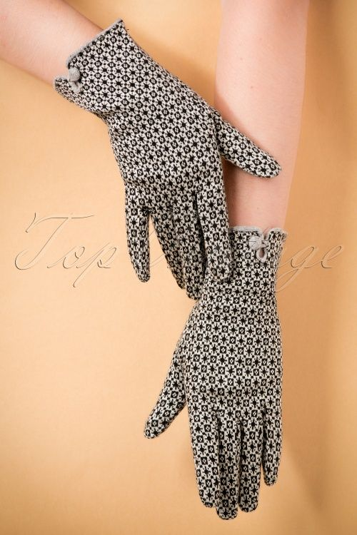 King Louie - 60s Lady's Gloves in Cream and Black