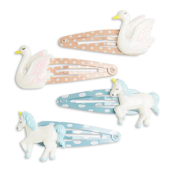 Uppnå en magisk håruppsättning med de här glittrande hårspännena med enhörningar och svanar.