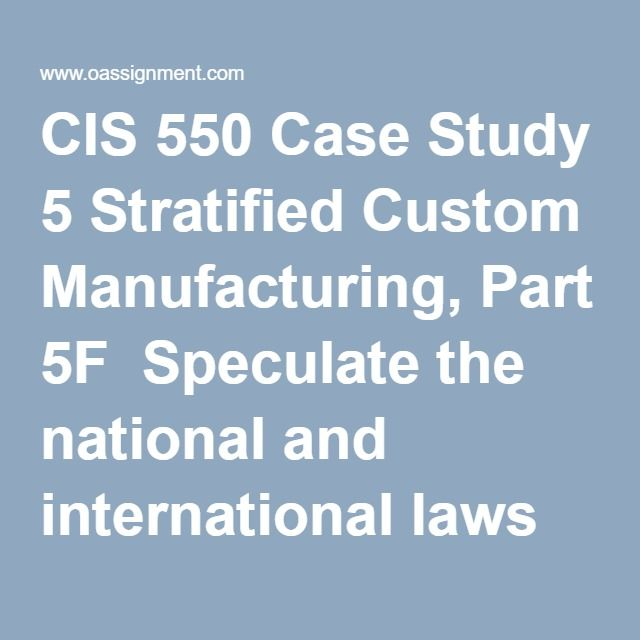 CIS 550 Case Study 5 Stratified Custom Manufacturing, Part 5F  Speculate the national and international laws violated by SCM in the investigation  Speculate any international procedures violated by Tom and George. Describe the type of response expected from the chain of events and type of attack from the two (2) employees. Identify the point in time SCM should involve its contractors, vendors, and the government agencies. Describe the approach that should be taken.