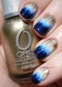 sl: cool pattern and color combo / Dip Dye Nail Blue