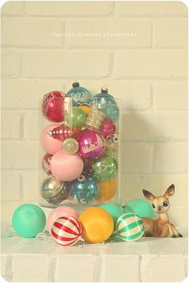 Vintage Christmas decor - I LOVE the deer and the bright colors of the ornaments! I think I may have just figured out a theme for Christmas 2012!