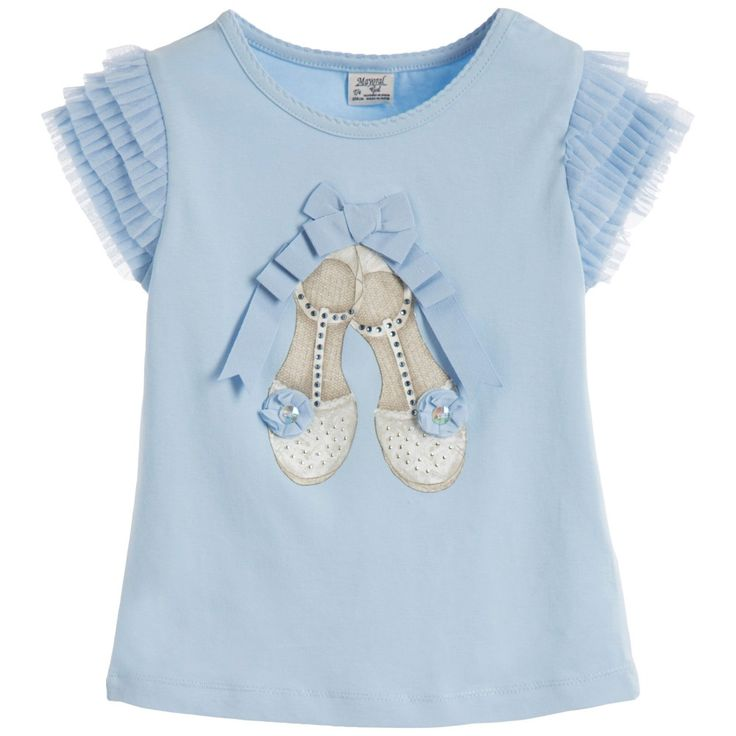 Younger girls light blue shoe print t-shirt by Mayoral. Made in soft cotton jersey with a ribbon and diamante shoe design on the front and frilled tulle shoulders.<br /> <ul> <li>92% cotton, 8% elastane (soft jersey feel)</li> <li>Machine wash (30*C)</li> <li>True to size</li> <li>Designer colour: Light Blue</li> </ul>