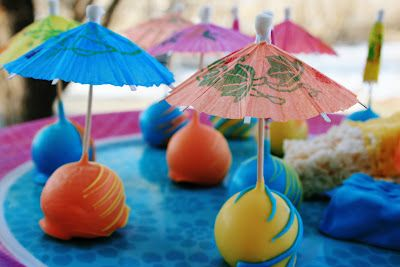 Share Dessert Company: Luau Parasol Pops and Rice Krispie Treats {Cake Pops}