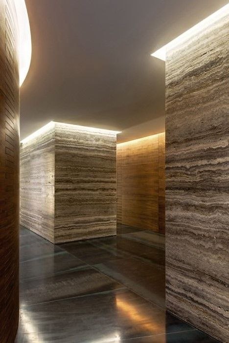Silver Travertine Hallway with Cove lighting