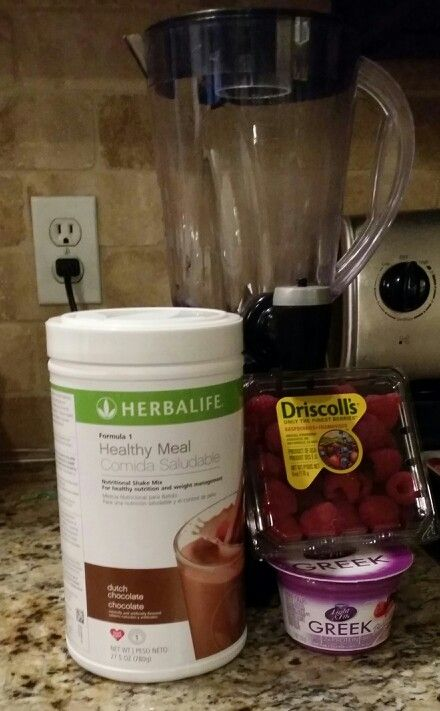Herbalife chocolate raspberry shake. Two scoops formula 1 Dutch chocolate, six raspberries, 1 Dannon light and fit Greek yogurt in chocolate raspberry flavor, 8-12 oz. Skim milk. Blend 20 seconds, enjoy!