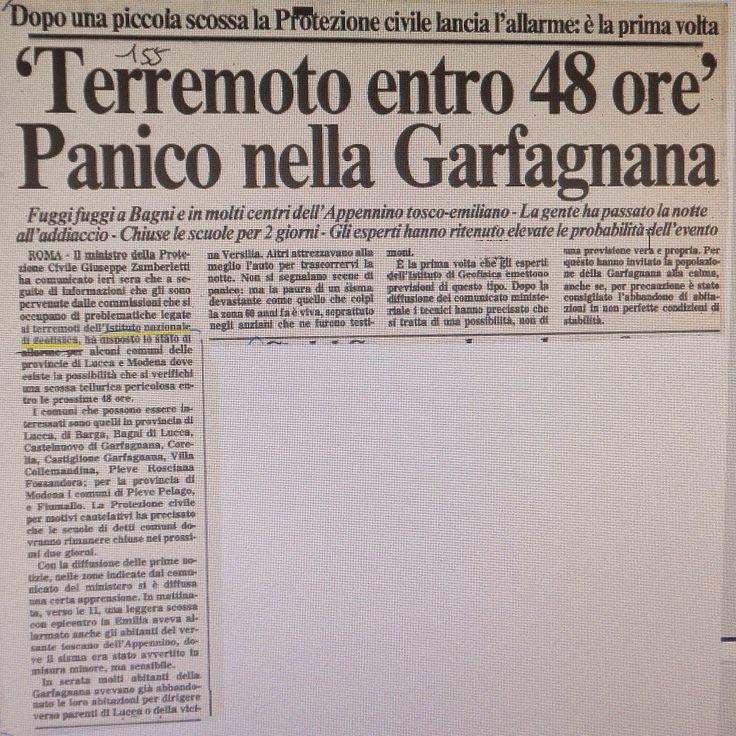 I terremoti di questi ultimi giorni riportano alla mente quello che successe esattamente 31 anni fa il 23 gennaio 1985, quando l'intera Garfagnana fu messa in allarme per un probabile terremoto di forte intensità. Fu la prima volta in ambito nazionale che succedeva una cosa simile, era la prima volta che si dava un preallarme di questo genere. Le scene di panico si manifestarono in tutta la valle, mentre da tutta la Toscana giungevano i mezzi dell'esercito Ecco la cronaca di quei giorni