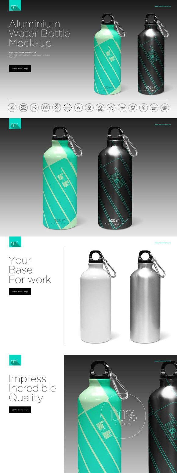 Download Aluminium Water Bottle Mock-up. Gradients Photoshop. $10 ... Free Mockups