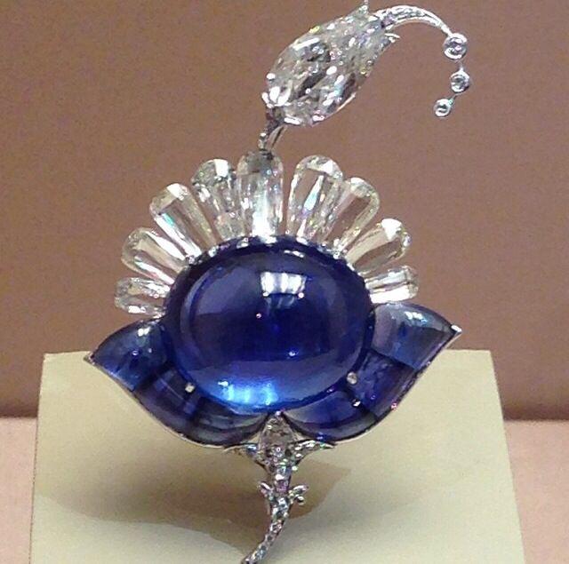 Viren Bhagat brooch with a 44.99 carat Sri Lankan sapphire