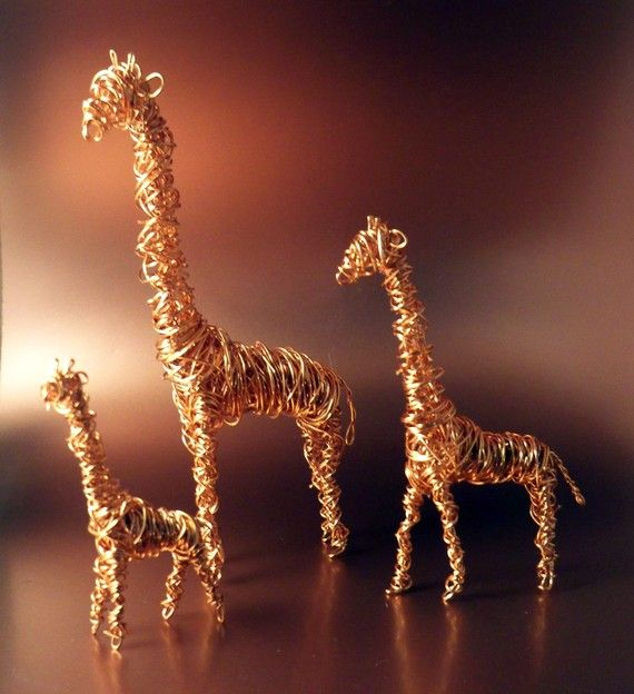 Set of 3 copper wire giraffes $50 #etsy