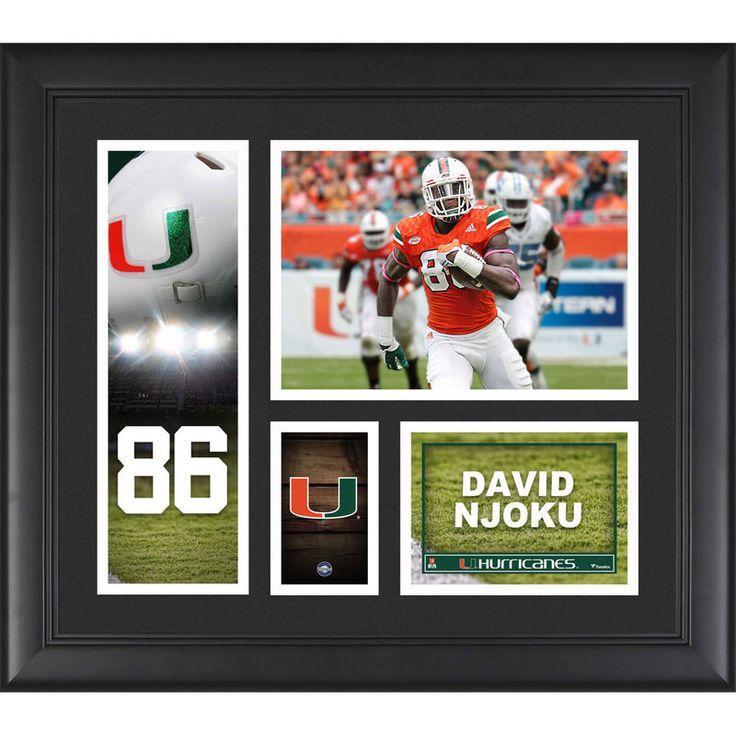 "David Njoku Miami Hurricanes Fanatics Authentic Framed 15"" x 17"" Player Collage"