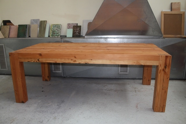 chunky style reclaimed Oregon pine dining table from eco furniture design