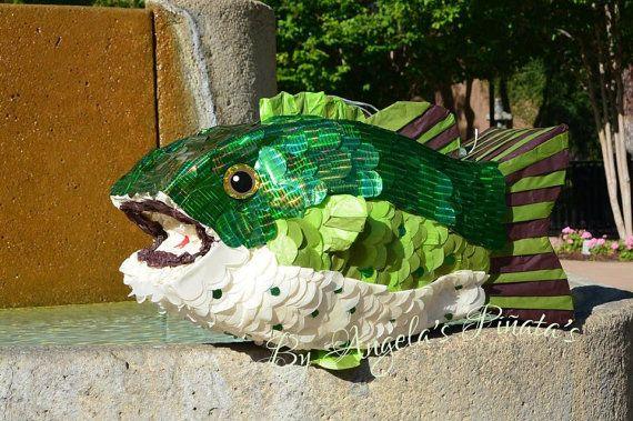 Custom Fish Pinata Bass Fish Piñata Fishermans birthday Woodland Birthday Gone Fishing Pinata Angler Pinata Large Mouth Bass Custom Pinata