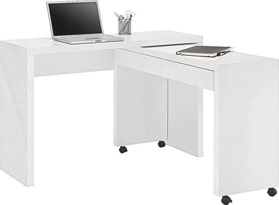 Funkciós íróasztal: lakkozott fényes MDF kivitelben, görgőkkel, átalakítható sarok íróasztallá, terhelhetőség max.40kg, Szé/Ma/Mé:kb.120/79/39cm
