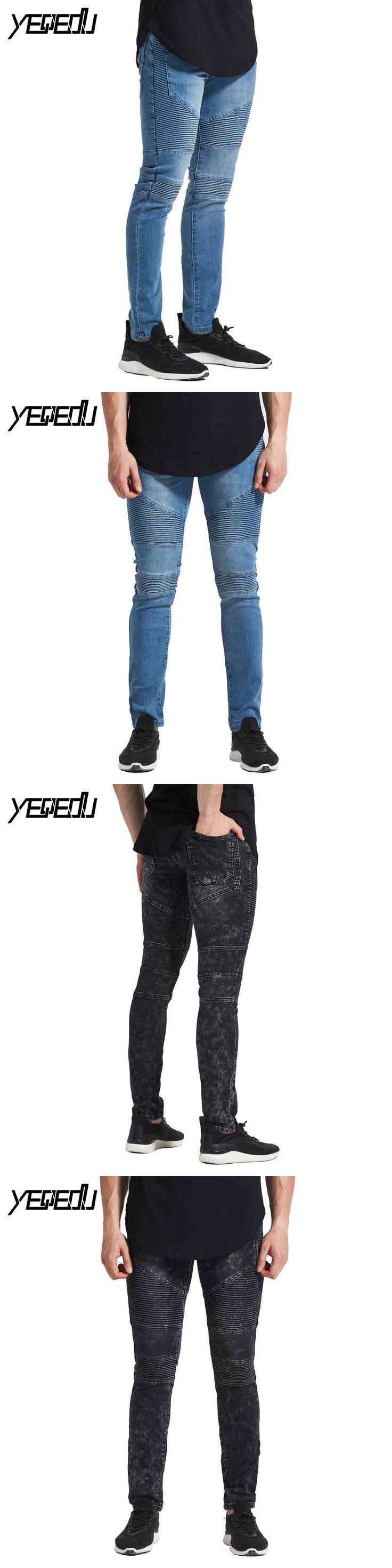 #2107 Moto biker jeans men Skinny Punk Hip hop jeans Stretch jean homme Black/blue Jogger jeans for men Punk Distressed Bikers