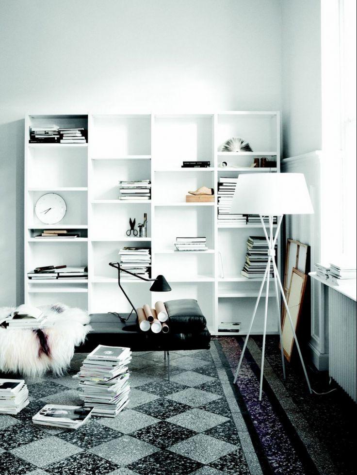 White Shelves And Tile Floor