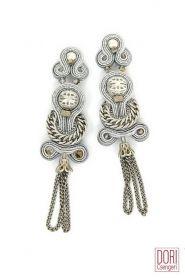 Xena trendy silver clolor fringe earrings by Dori Csengeri