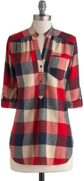 Love the cut/shape of this shirt.  I like plaid, but I'm not sure I want red!