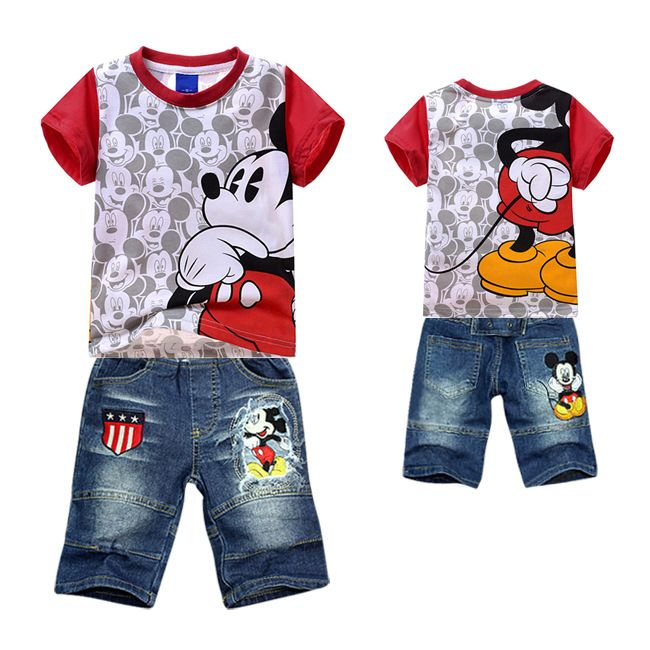 Free shipping new 2014 hot selling Children cartoon mickey mouse clothing set ,frozen cotton boys t shirt+Jeans sets infantis