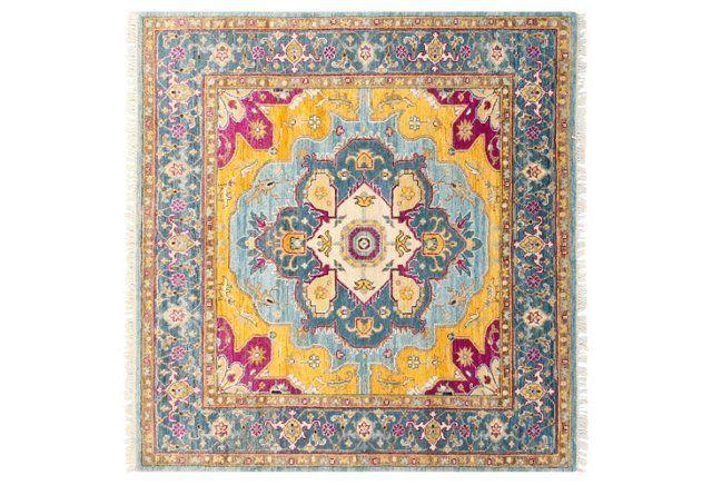 4'x4' Sari Wool Capri Rug, Teal/Blue
