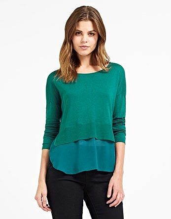 Womens sea green naf naf long sleeves 2 in 1 sweater from Lipsy - £37 at ClothingByColour.com
