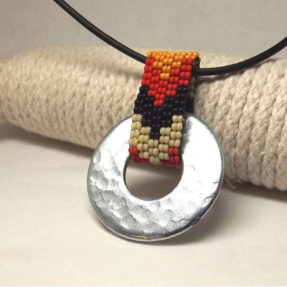 Beadwork pendant necklace native american design by BoonieBeads, $18.00