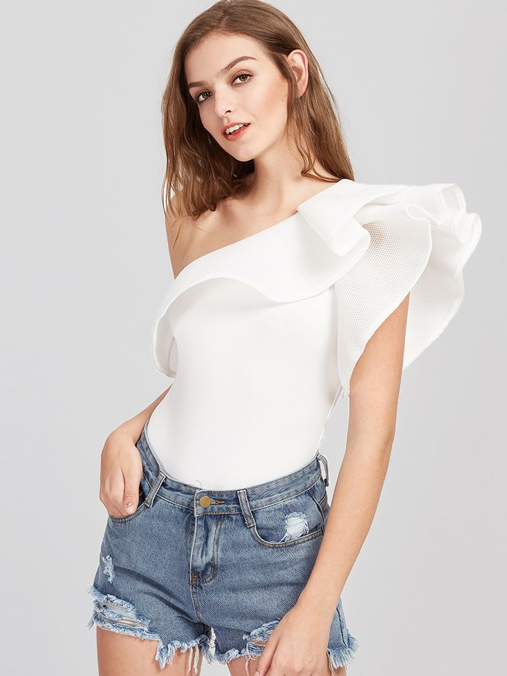 Shop One Shoulder Layered Ruffle Trim Bodysuit online. SheIn offers One Shoulder Layered Ruffle Trim Bodysuit & more to fit your fashionable needs.