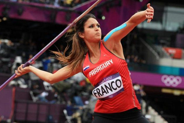 Paraguay's Leryn Franco competes in the women's javelin throw qualifying rounds at the athletics event during the London 2012 Olympic Games on August 7, 2012 in London.