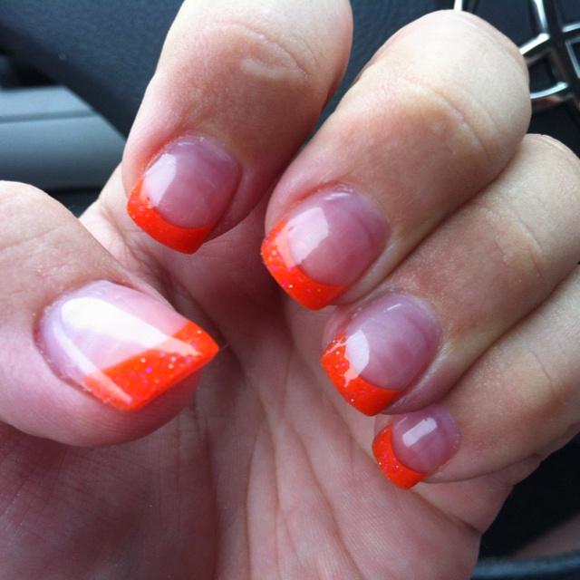 orange acrylic tips nail art