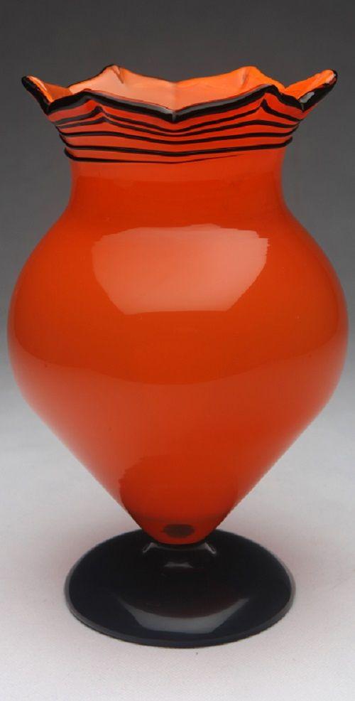 Wiener Werkstätte Orange Loetz Vase by Michael Powolny, Bohemia. Circa 1910
