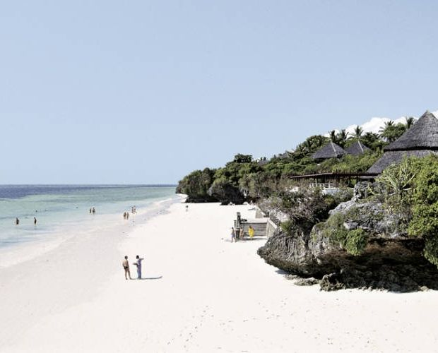 LEOPARDS BEACH RESORT- is one of the most beautiful and best hotels on Kenya's coast. The hotel is located on the white, sandy shores of Diani Beach surrounded by coral coves nestling in between cliffs covered in flowering vegetation and large tropical gardens. While walking down the two flights of stairs to the beach, a grand, panoramic view of the ocean unfolds.  The hotel consists of 155 rooms.