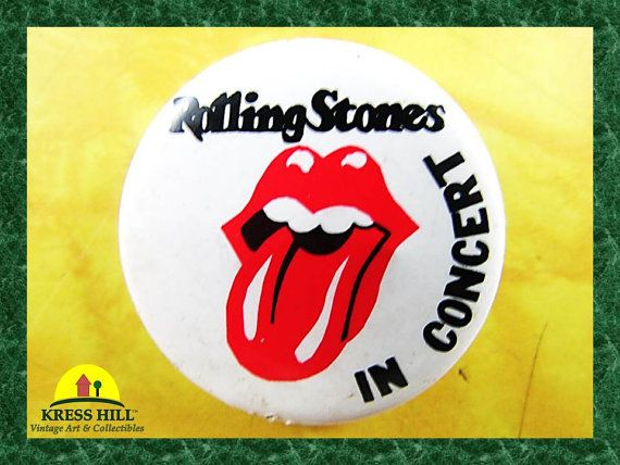 Retro Rolling Stones In Concert Pinback Button by KressHillVintage