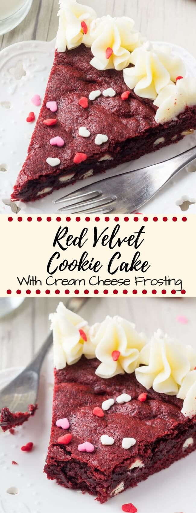 This Red Velvet Cookie Cake is soft & chewy, filled with white chocolate chips & decorated with cream cheese frosting. The ULTIMATE Red Velvet dessert