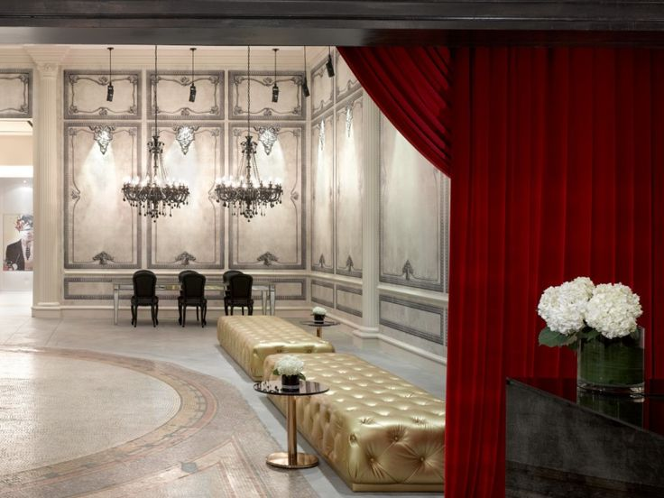 Amazing Luxury Condominium Designs with Classic Touch: Red Colored Curtain For Elegant Tower Sales Centre