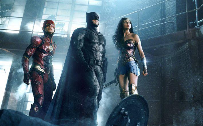 Scarica sfondi Batman, Wonder Woman, Flash, supereroi, 2017 film Justice League