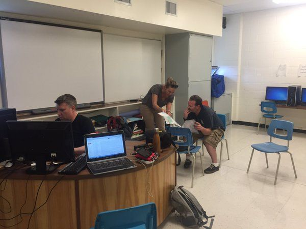 @CamMacIntoshCBC  May 4 Thanks @GrasslandSchool for the generous use of your computer lab - @CBCNews #ymmfire