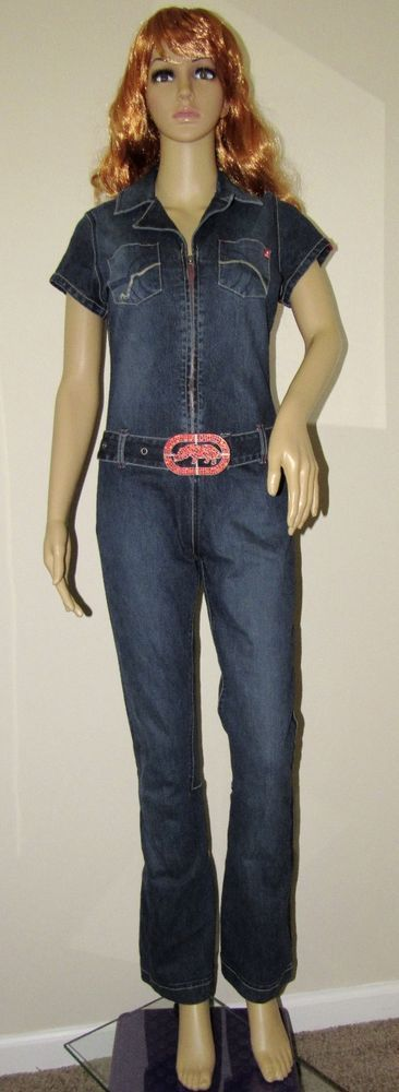 Ecko Red Women's Solid Denim Blue Jean Jumpsuit / Romper Size: S #EckoRed #Jumpsuit