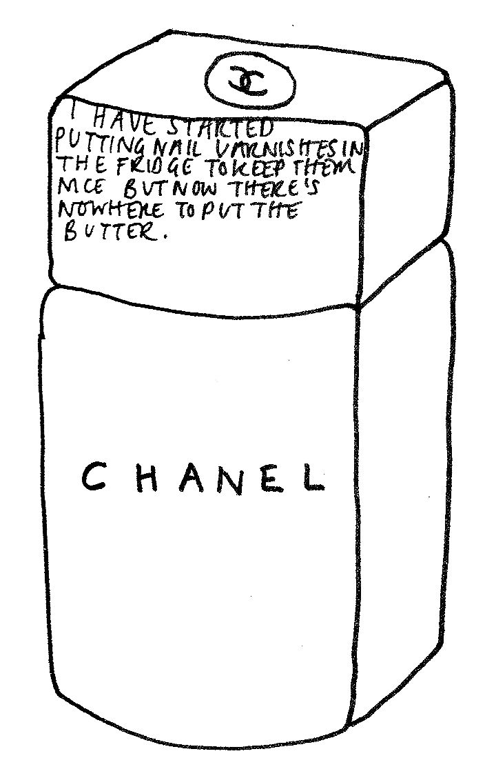 Simple illustration incorporating text and 'Chanel' brand logo. Illustration by Alexa Chung for book 'It' published in 2013.