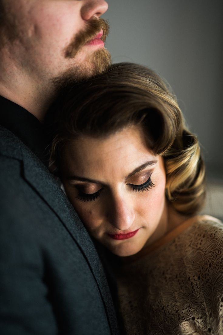 Smoky eye with vintage bridal updo
