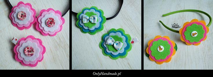 Ozdoby dla dziewczynek: opaski i spineczki do włosów, gumeczki, broszki ...  Zapraszamy na OnlyHandmade.pl