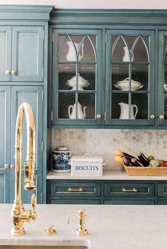 Centsational Girl - brass kitchen hardware | LOVE cabinet color