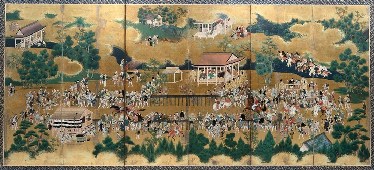 Tosa School Horse Race at the Kamo Shrine 17th century Painting/Print
