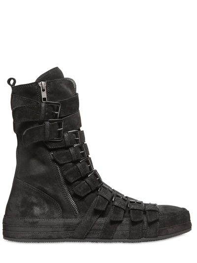 Ann Demeulemeester Waxed Suede Belted Boots