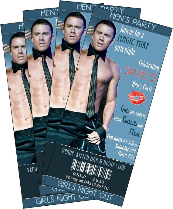 No strippers but yummy channing!! Hen's Night Bachelorette Party Invitation ticket by SharedLove, $9.00