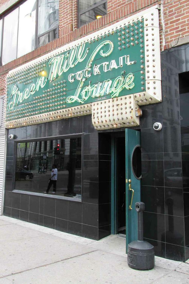 Green Mill Cocktail Lounge  No matter how many new watering holes pop up in Chicago, the Green Mill never loses an ounce of charm — glitzy exterior sign included. In fact, this place still feels as cool as it did when greats like Von Freeman were playing the sax.    Green Mill Cocktail Lounge, 4802 North Broadway Street ( between Gunnison Street and Racine Avenue); 773-878-5552.