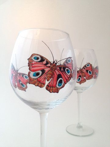 Toasted Glass - Peacock Butterfly Wine Goblets