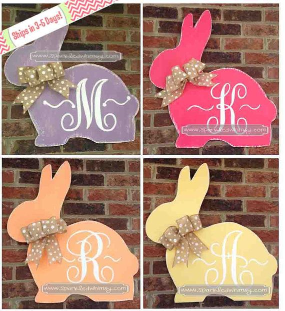 Monogrammed and Distressed Bunny Easter Door Hanger Sign~~Ready to Personalize & Ship