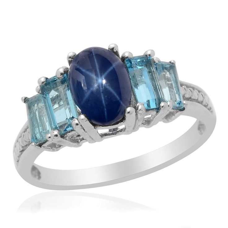 Liquidation Channel: Thai Blue Star Sapphire Diffused, and Electric Blue Topaz Ring in Platinum Overlay Sterling Silver (Nickel Free): Stars Sapphire, Blue Topaz Ring, Star Sapphire, Sapphire Diffuser, Sapphire Jewelry